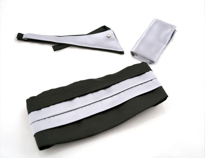 Set waistband-triangular and handkerchief in black-silver color